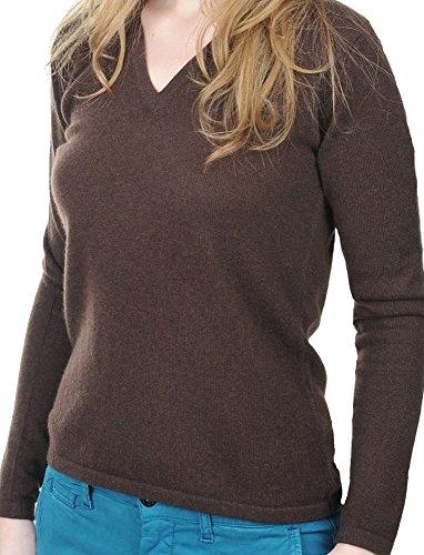 Balldiri 100% Cashmere Kaschmir Damen Pullover 2-fädig V-Ausschnitt cappuccino S
