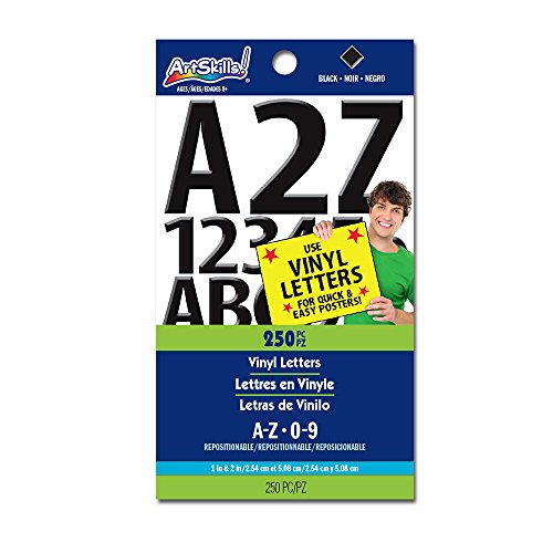 ArtSkills Vinyl Poster Letters and Numbers, 1-Inch and 2-Inch, Assorted, Black, 250-Count (PA-1349)