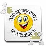Carsten Reisinger - Illustrations - Fun Birthday This Happy Fella is turning 4 Party Celebration - 10x10 Inch Puzzle (pzl_261538_2)