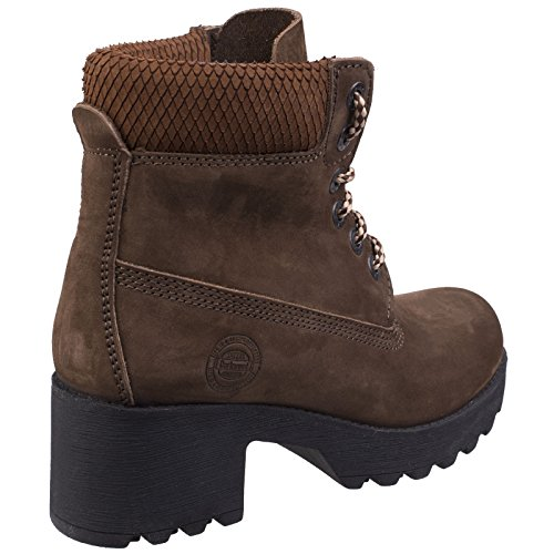 Womens Walking Beige Heeled Resistant Pine Boots Water Ankle Darkwood Ladies 6qpYw6d