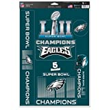 WinCraft NFL Philadelphia Eagles Super Bowl LII Champions Decals, 11 x 17-inches