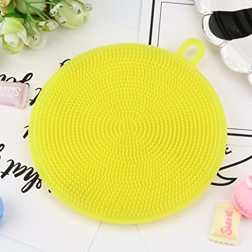 Price comparison product image Multipurpose Silicone Dish Washing Sponge Scrubber,  Kitchen Cleaning antibacterial Tool , Tuscom (Yellow)