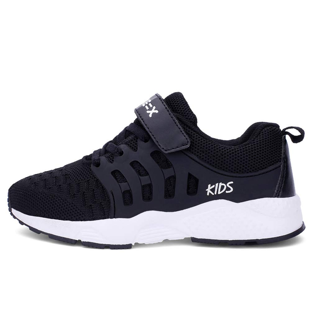 FLORENCE IISA Kids Tennis Shoes Breathable Lightweight Athletic Sports Running Sneakers for Boys & Girls (34, Black1) by FLORENCE IISA (Image #2)