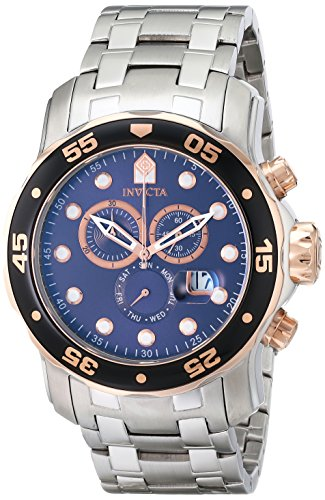 (Invicta Men's 80038 Pro Diver Chronograph Blue Dial Stainless Steel Watch)