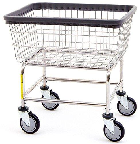 Metal Carts Wheels - R&B Wire 100E Standard Wire Laundry Cart, 2.5 Bushel, Chrome