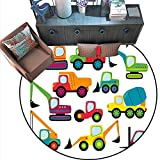 """Construction Print Area Rug Cute Style Vehicles and Heavy Equipment Forklift Earthmover Excavator Mixer Home Decor Foor Carpe (6'6"""" Diameter) Multicolor -  Anshesix"""