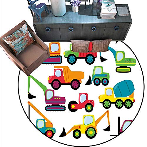 "Construction Print Area Rug Cute Style Vehicles and Heavy Equipment Forklift Earthmover Excavator Mixer Home Decor Foor Carpe (6'6"" Diameter) Multicolor -  Anshesix"