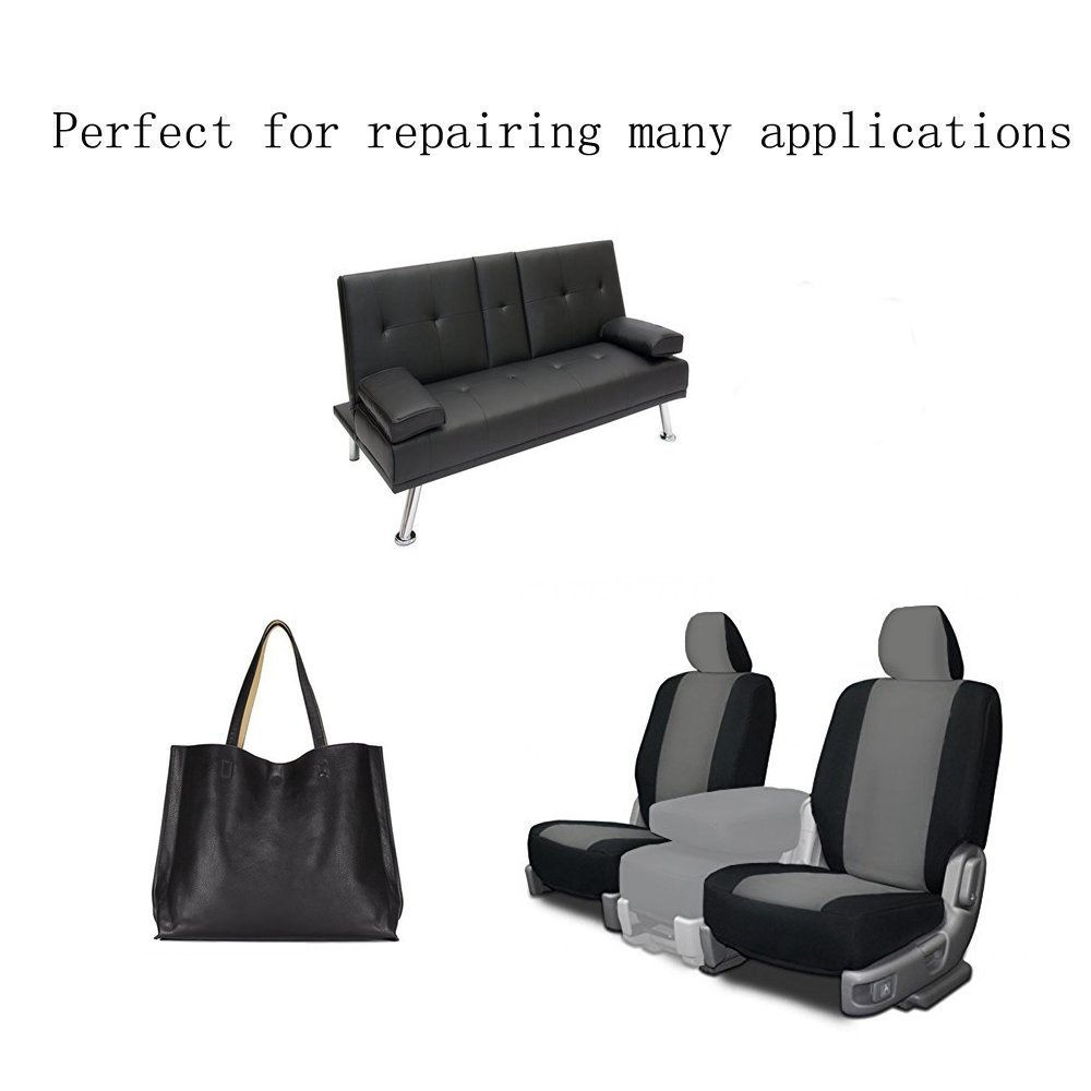 6 Pieces Leather Patch, Adhesive Backing leather seat patch for Repair Sofa, Car Seat, Jackets, Handbag, 13 by 7 Inch, Black
