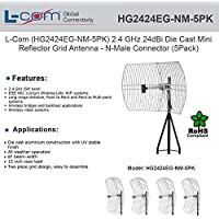 L-Com HG2424EG-NM-5PK 2.4 GHz 24 dBi Die Cast Mini-Reflector Grid Antenna 5 Pack