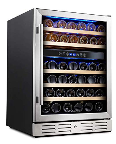 Kalamera 24'' Wine refrigerator 46 Bottle Dual Zone Built-in and Freestanding with Stainless Steel & Triple-Layer Tempered Glass Door and Temperature Memory Function