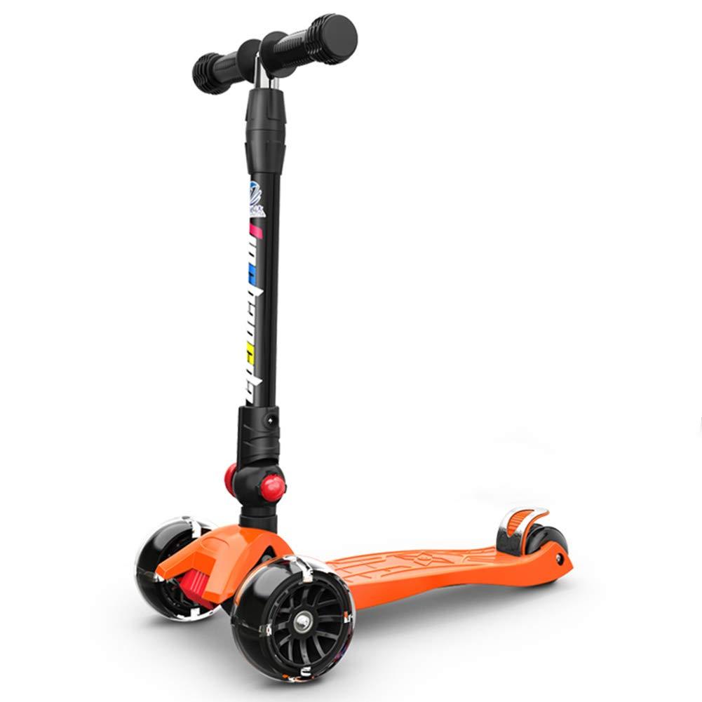 Triciclos Scooter para niños con Ruedas Que Destellan de PU, Tres Ruedas Plegables, Kick Scooter para niños de 2 a 12 años de Edad, Boy Girl Trike, Naranja
