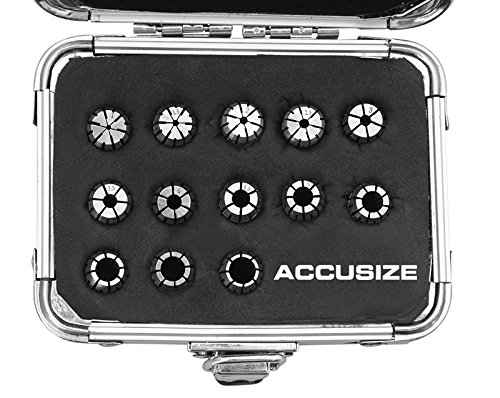 AccusizeTools - Metric ER Collets 13 Pcs/Set ER-11 Collet Sizes 1 to 7mm by 0.5mm in Fitted Strong Aluminum Box, 3350-0581 by Accusize Industrial Tools (Image #1)