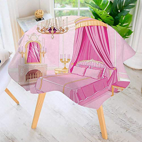 UHOO2018 Round Tablecloth Polyester-Decor Interior of Magic Princess Bedroom Old Fashioned Ornament Pillow Lamp Mirror Great for Buffet Table, Parties, Holiday Dinner & More 35.5