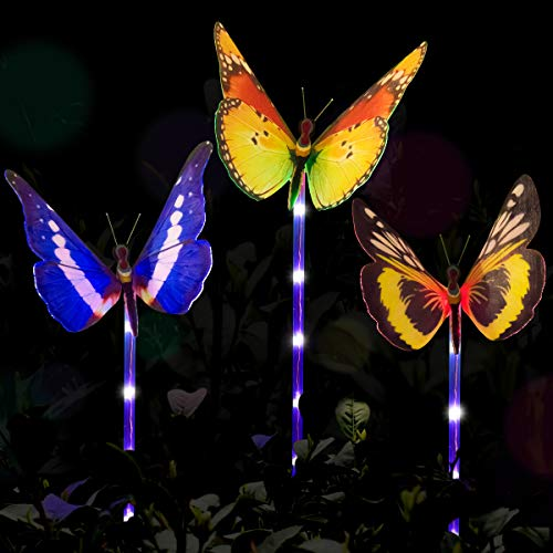 - YUNLIGHTS Outdoor Solar Garden Lights, 3 Pack Color Changing Solar Stake Light, Fiber Optic Butterfly with Purple LED Light Stake for Garden Patio Backyard Decoration