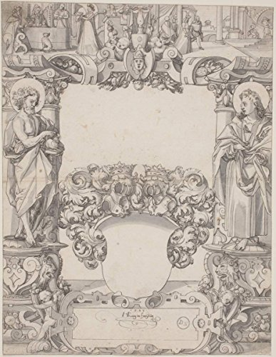 Artist: Hans Kaspar Lang | Drawing: Glass Design with Saint John the Baptist and Saint John the Evangelist | Date: 1595 | Vintage Fine Art Print by historic pictoric