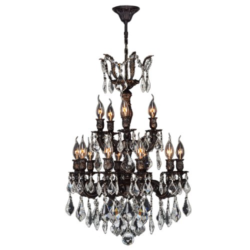 Worldwide Lighting W83325F21 Versailles 15 Light with Clear Crystal Chandelier, Medium, Brass