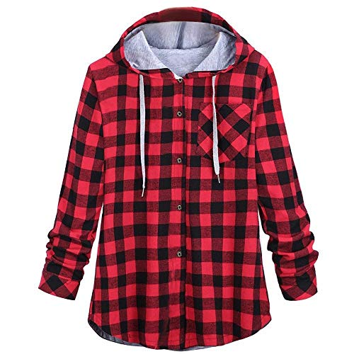 GOVOW Plaid Hooded Shirt Jacket Women's Long Sleeve Cardigan Jacket Blouse(US:12/CN:XXL,Red)
