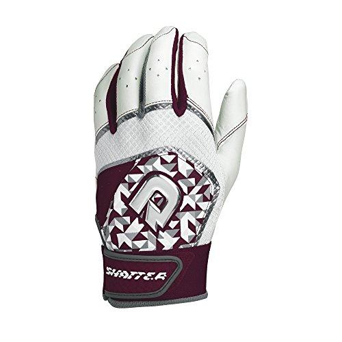 DeMarini Shatter Batting Gloves, Maroon, Medium, Pair Maroon Batting Gloves