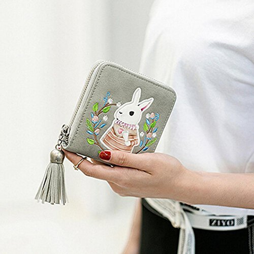 Gift ! Sinwo Cute Small Mini Wallet Holder Zip Coin Purse Clutch Handbag Womens Grils (Gray)