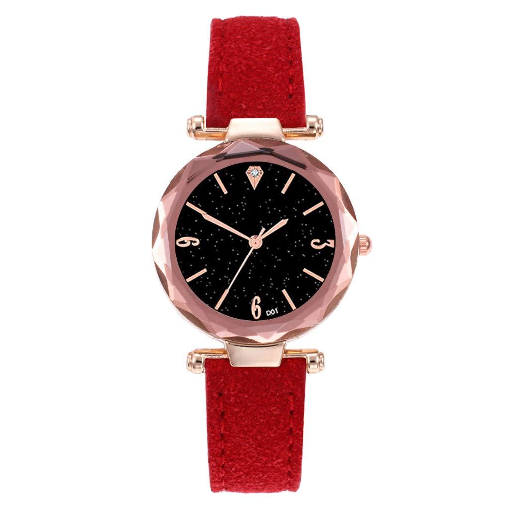 Girl's Women's Watch, Iuhan Fashion Leather Bracelet Casual Watch Luxury Analog Quartz Starry Sky Wristwatch for Women Girls (Red)