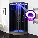 Bocy Boon Steam Shower Cubicle Enclosure 3KW Generator with 6 Body Massage Jets Black