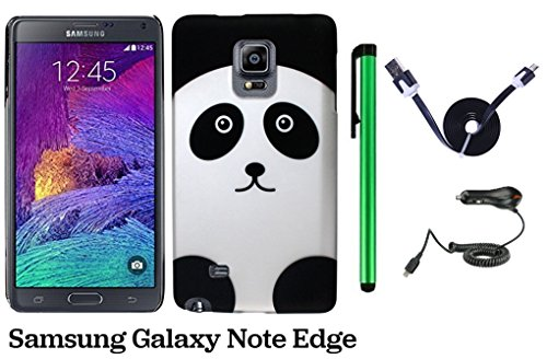 Samsung Galaxy Note Edge Phone Case - Premium Pretty Design Protector Hard Back Cover Case + Car Charger + 1 of 1M/3Feet Stylish Micro USB To USB 2.0 Data Sync Charger Flat Cable + 1 of New Metal Stylus Touch Screen Pen (Black Silver Panda Bear)