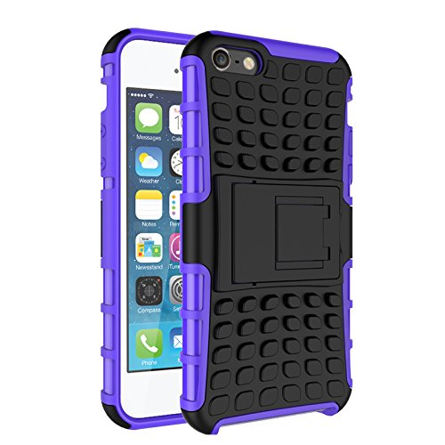 iPhone 5/ 5S/ SE Funda,COOLKE Duro resistente Choque Heavy Duty Case Hybrid Outdoor Cover case Bumper protección Funda Para Apple iPhone 5/ 5S/ SE - púrpura púrpura