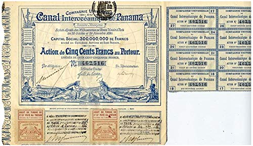 (1880 FR RARE ORIGINAL 1880 PANAMA CANAL BOND SIGNED BY FRENCH BUILDER (LESSEPS) 500 FRANCS Extra Fine Range)