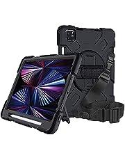 Ggomi Capa para iPad Pro 11 polegadas 2021/2020/2018 com suporte para Apple Pencil, capa protetora de TPU resistente de nível militar, capa antiqueda para tablet iPad Pro 11 polegadas + suporte + alça de ombro (preto)