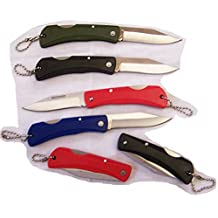 12 Pieces (1 Dozen ) Bulk Lot of Assorted Color Designed Handle Folding Pocket Knife Key Chain