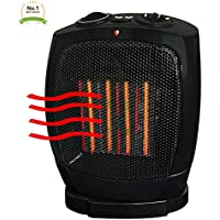 Ceramic Heater Black Adjustable Thermostat Heat Space Warmer - Quick Heat & Safety Tipover Protection