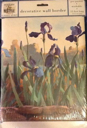 Wild Iris Decorative Wall Border - 15 Feet - Pre-Pasted