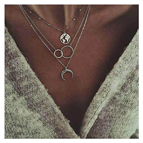 Edary Boho Layered Necklace Moon Necklaces Map Pendant Jewelry for Women and Girls.