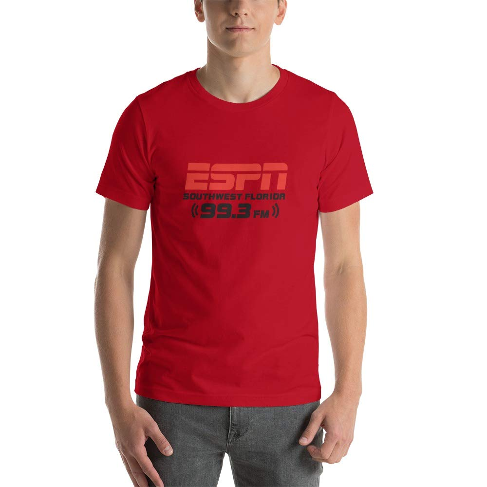 AO 3001 Unisex Short Sleeve Jersey T-Shirt with Tear Away Label by ESPN 99.3 FM 4XL Red