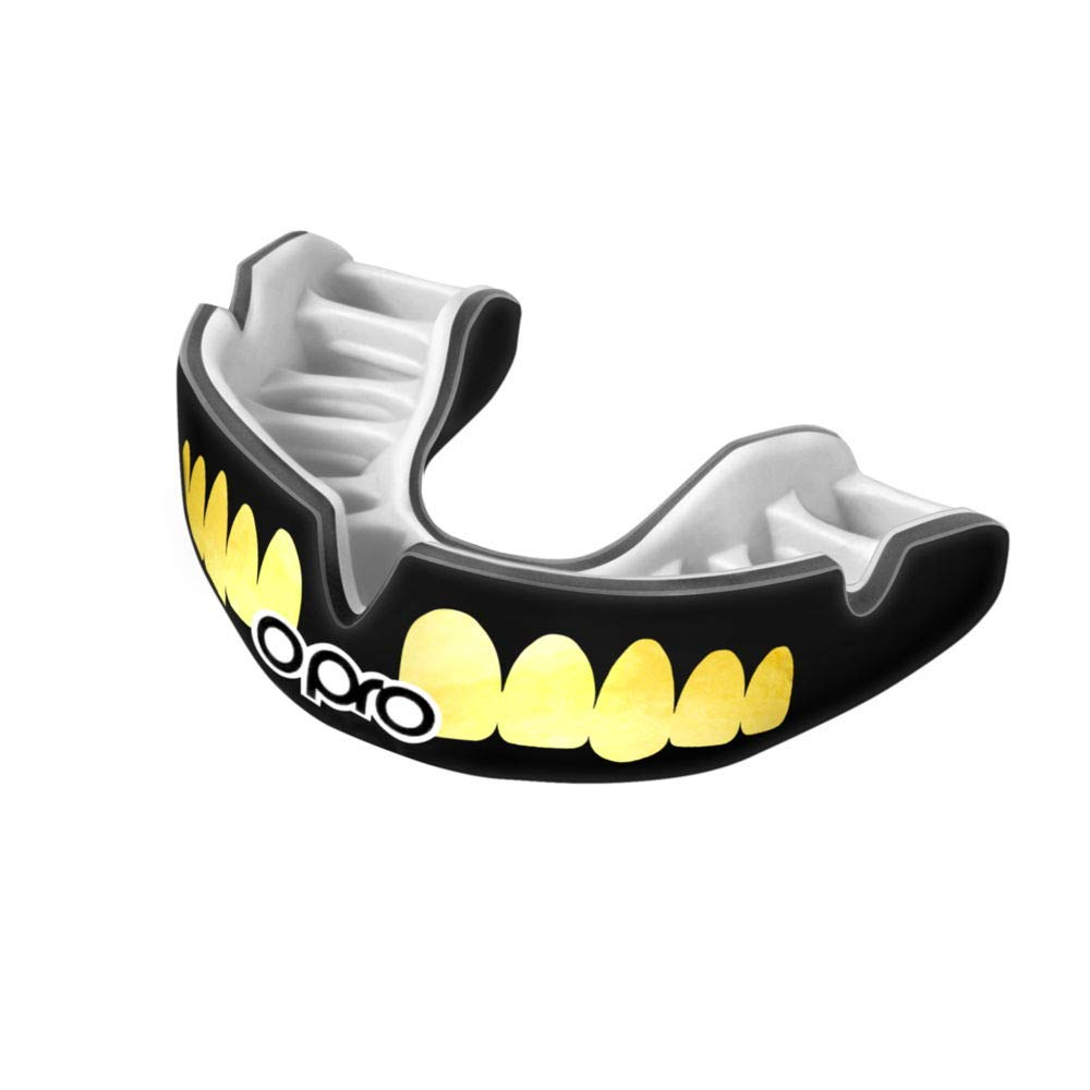 OPRO Power-Fit Mouthguard | Gum Shield for Rugby, Hockey, Wrestling, and Other Combat and Contact Sports (Adult and Junior Sizes) - 18 Month Dental Warranty (Black/Gold Teeth, Junior)