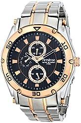 Armitron Men's 20/4957BKTR Multi-Function Black Dial Rose Gold and Silver-Tone Bracelet Watch