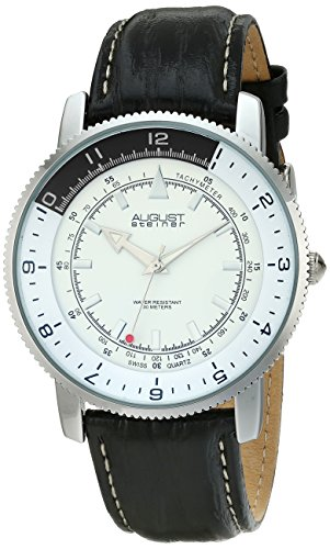 August-Steiner-Mens-AS8124SS-Silver-Swiss-Quartz-Watch-with-White-Dial-and-Black-with-White-Stitching-Leather-Strap