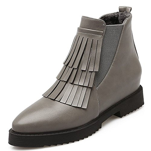 COOLCEPT Women's Hideen Mid Heel Ankle Boots With Fringe Chelsea Bootie Shoes PU Gray Hf49mea