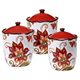 Certified International 25836 3 Piece Spice Flowers Canister Set, Multicolor