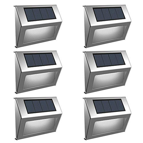 (Solar Step Lights 6 Pack, EleLight Solar Powered 3 LED Outdoor Lighting Wireless Stainless Steel Bright Stair Lights for Deck, Walkway, Patio, Garden, Patio)