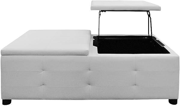 Table Basse Blanche Simili Cuir Capitonnee Cozy Amazon Fr