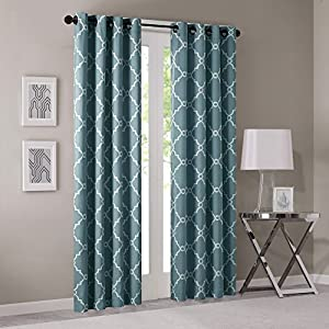 Madison Park Saratoga Room-Darkening Curtain Fretwork Print 1 Window Panel with Grommet Top Blackout Drapes for Bedroom and Dorm, 50x84, Blue