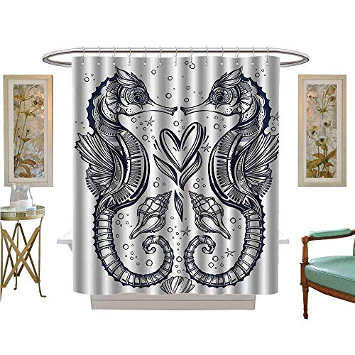 Leigh R. Avans Shower Curtains Mildew Resistant Romantic Ink Seahorse Lovers Kissing with Heart Nautical Elements Exotic Satin Fabric Bathroom Washable (Silk Tie Leigh)