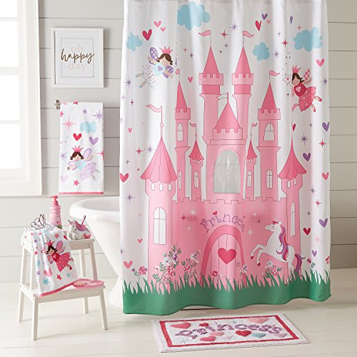 Dream Factory Magical Princess Fabric Shower Curtain, 72 x 72 inches, Pink ()