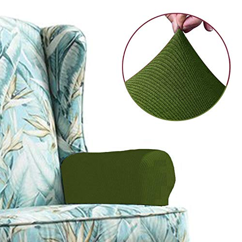 Arm Recliner 2 (Chelzen Stretch Sofa Armrest Covers Set of 2, Striped Fabric Arm Slipcovers Protectors for Couch, Chair and Recliner (Armrest Covers, Green))