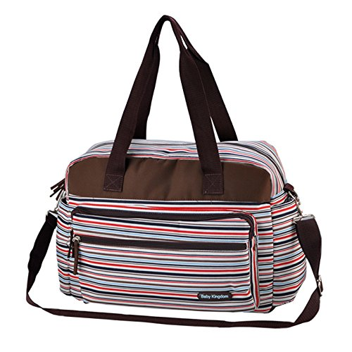 Fashion diseño de rayas mochila, gran capacidad bolsa de pañales de bebé con cambiador verde rosa