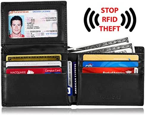 Men's RFID Blocking ID Window Multi-Card Travel Bifold Genuine Leather Pocket Wallet - in Gift Box by KALMORE