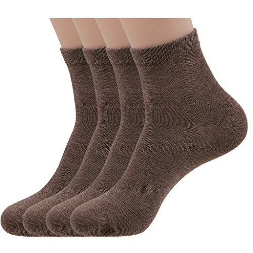 PEARL CARE Mens Dress Socks Pearl Fiber & Cotton Odor-Control Moisture-wicking Ankle Quarter Socks (4 Pack)
