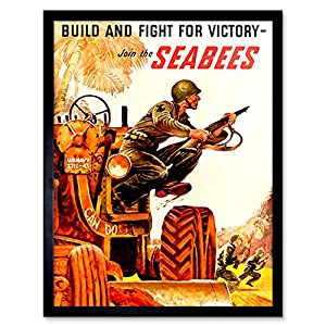 Wee Blue Coo Propaganda War WWII USA Build Fight Victory Seabees Soldier Gun Tractor Art Print Framed Poster Wall Decor 12x16 inch from Wee Blue Coo