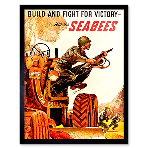Wee Blue Coo Propaganda War WWII USA Build Fight Victory Seabees Soldier Gun Tractor Art Print Framed Poster Wall Decor 12x16 inch ()